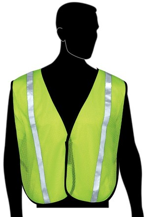 "General Purpose Vest with 1"" Silver Retroreflective Stripes - Lime Green Mesh"