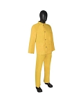 Durawear 2 Layer Pvc/Polyester 3-Piece Yellow Rainsuit