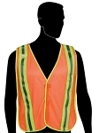 General Purpose Vest with Combined Performance Stripes - Fluorescent Orange Mesh