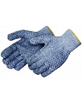PVC Criss-Cross Coated Gray String Knit Gloves - (DOZEN)