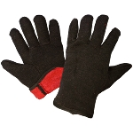 Brown Red Fleece Lined Jersey Chore Gloves