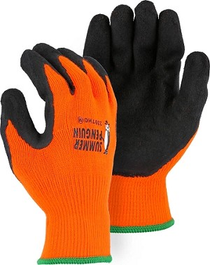 Summer Penguin Glove with Latex Palm Coating on Hi-Vis Orange Knit Liner