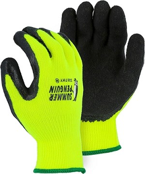 Summer Penguin Glove with Latex Palm Coating on Hi-Vis Yellow Knit Liner