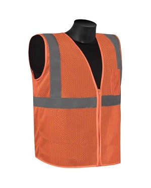 Class 2 - Orange Safety vest (mesh with silver stripes)