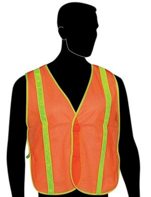 "General Purpose Vest with 1"" Yellow PVC Stripes - Orange Mesh"
